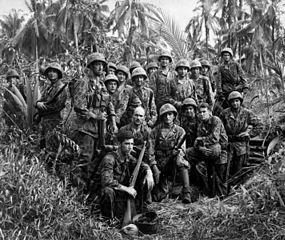 Bougainville Campaign: U.S. Marines at Japanese dugout