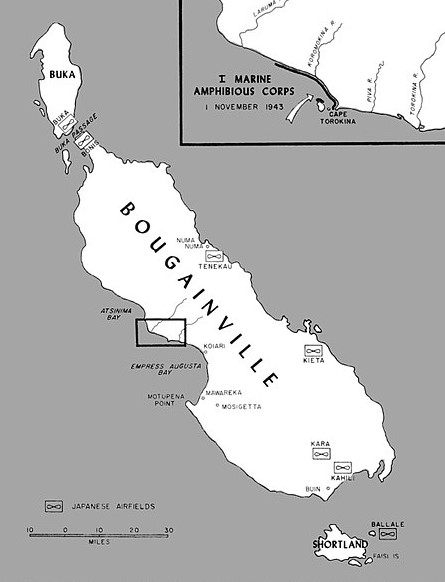 Bougainville Campaign: Map of Bougainville Island, 1943