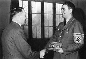 Hitler presents Albert Speer with Engineering Award, 1943