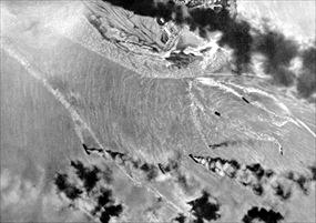 Japanese aircraft bombing ships in Darwin Harbor, February 19, 1942