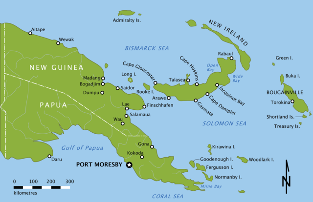 Map of eastern Papua New Guinea and New Britain