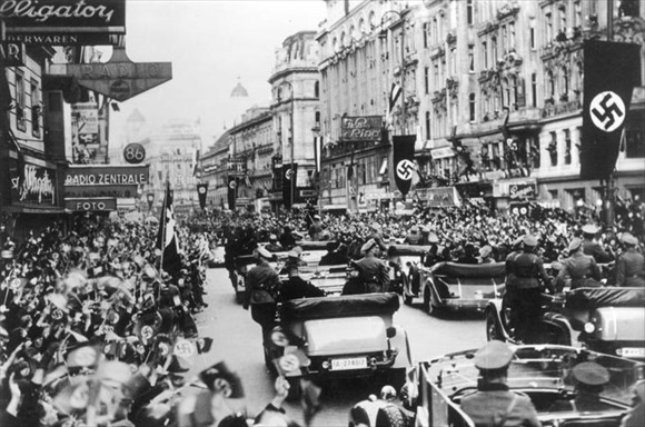 A triumphant Hitler enters Vienna, March 14, 1938