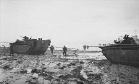 British Marine commandos wade ashore, Walcheren Island, November 1944