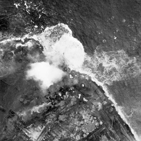 RAF bombing dykes at Westkappelle, October 3, 1944
