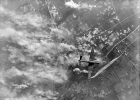 RAF Halifax over Mimoyecques, France, July 6, 1944