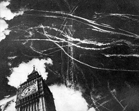 RAF fighters vs. Luftwaffe over Parliament's Big Ben, London 1940