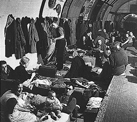 Civilians shelter in a West End London subway station. Undated photo