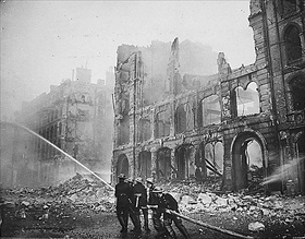 London firefighters following an air raid