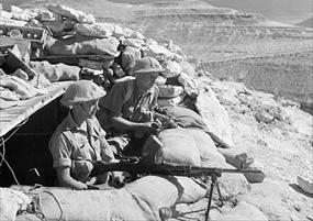 Operation Crusader: Manning a Bren light machine gun near Tobruk, November 10, 1941 width=