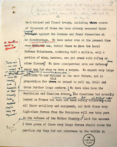 "Edited draft of Churchill's ""Finest Hour"" speech"