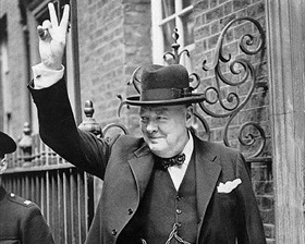 British Prime Minister Winston Churchill giving signature V-sign, May 20, 1940