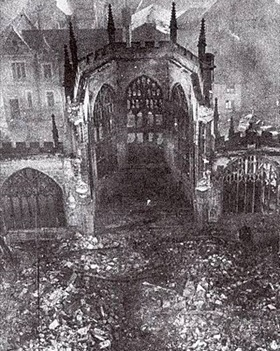 Nave of Coventry Cathedral after destruction