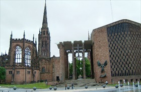 Old Coventry Cathedral alongside new one