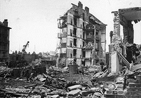 Destruction left by last V-2 attack on London, March 27, 1945