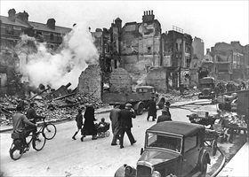Ruined houses in London following an air raid