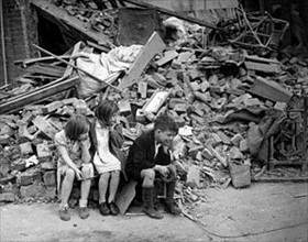 Children of an eastern suburb of London made homeless by the Blitz
