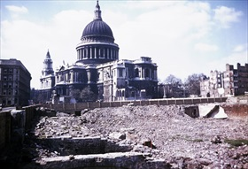 Bomb damage near St Paul's Cathedral
