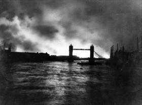 London docks and warehouses burning, September 7, 1940