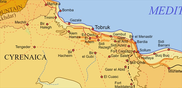 Map of Cyrenaica, Eastern Libya, and Egypt and Operation Crusader Battle Area, November–December 1941