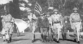 Lt. Gen. Arthur Percival negotiating surrender of Singapore, February 1942