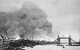 London's docks burning first day of Blitz, September 7, 1940