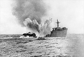 U-boat shells merchant ship