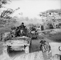 Burma Campaign: Tanks and trucks, Meiktila, Burma, March 1945