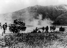 Gurkhas clearing Japanese from Imphal-Kohima road, Northeastern India, 1944