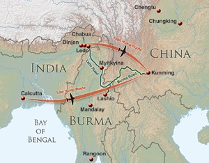 "Two &quot:Hump"" routes to Kunming, China"