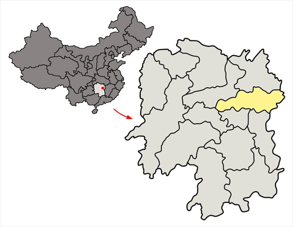 Location of Changsha in China's Hunan Province