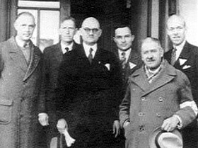 John Rabe with several committee members of Nanking Safety Zone, 1937