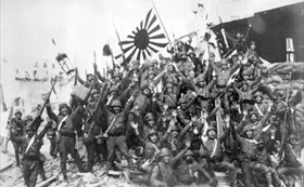 Japanese marines celebrate their landing near Shanghai, August 1937