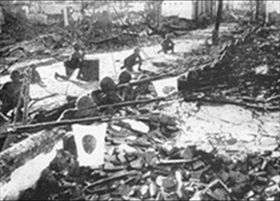 Japanese soldiers sift through Shanghai ruins, 1937