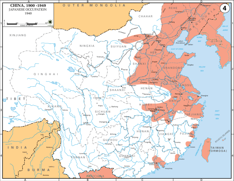 Japanese-held territory in China, 1940
