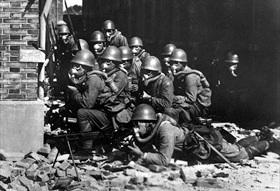 Japanese chemical attack in Shanghai neighborhood, 1937