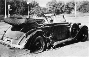 Reinhard Heydrich's wrecked Mercedes convertible