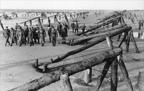 German Atlantic Wall defenses: Rommel and officers inspecting Atlantic Wall, France, April 1944