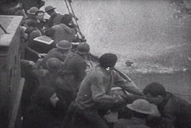 Fishing boat picking up troops, Dunkirk, France, 1940