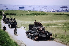 British tank exiting Gold Beach, June 6, 1944