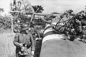 German troops examine crashed glider, Normandy, June 1944