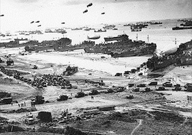 Landing cargo on invasion beach within days of June 6, 1944