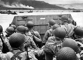 Landing craft approaching Omaha Beach, June 6, 1944