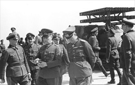 Rommel (hands in front) near Caen, May 30, 1944
