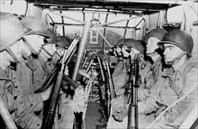 Gliders in the airborne invasion of Normandy: Paratroopers inside glider