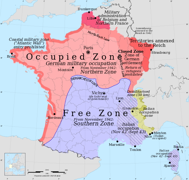 Occupation zones, France, 1940–1944