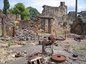 German reprisal killings: Oradour-sur-Glane ruin, site of German atrocity, June 10, 1944