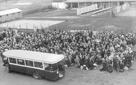 Chasse aux Juifs (Hunt for Jews): Buses deposit French Jews at Drancy, 1941