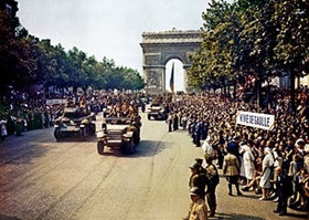 French 2nd Armored Division parade down Champs Élysées, August 25, 1944