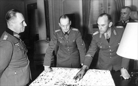 Rommel (left) and von Rundstedt (middle), Paris, December 1943