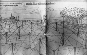 German Atlantic Wall defenses: German sketch for log and wire defenses against airborne forces, 1944